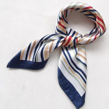 2015 New Arrival Fashion Blue Streak Women Polyester Small Square Scarf Printed,British Style Brand Casual Silk Scarf 52*52cm(China)
