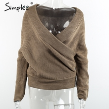 Simplee Sexy thick pullovers white sweater women Autumn winter retro batwing sleeve gray jumper Elegant loose v neck sweaters