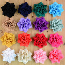 New Arrival High Quality 3.15in Thick Chiffon Flower Flat Black For girls DIY Accessory girl Hair DIY Part 80pcs/lot FH58(China)