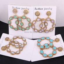 Flower-Earrings Rhinestone Jewelry Women Round for 5pairs Pave Zyunz Gold-Color Cat-Eye/howlite