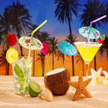 50pcs/pack Mixed Color Tropical Umbrella Parasol Cocktail Straws/Disposable Bendable Drinking Straws for Party Wedding 976424