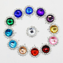 10Pcs/Pack 20mm rhinestones button Mix-Colour pearl buttonhole diy girl hair accessory 13color Initation flower liory
