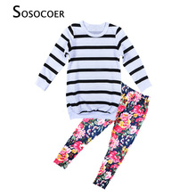 SOSOCOER Girl Clothing Sets New 2017 Spring Autumn Stripe T Shirt+Flowers Leggings Pants 2pcs Clothing Set For Kids Baby Clothes(China)