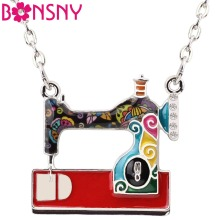 Bonsny Statement Enamel Alloy Sewing Machine Necklaces Pendants Choker Chain Collar Fashion Jewelry For Women Girl Accessories(China)