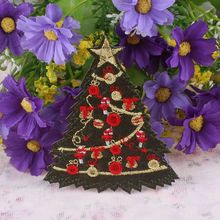 Merry Christams Series Iron On Patch Christmas Tree Embroidery Patches Motif Appliques Garment DIY Accessories(China)