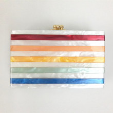 2017 Women Gorgeous Acrylic Clutch Box Women Evening Bag Wedding Bridesmaid Handbag Rainbow Colored Striped Messenger Bag Party