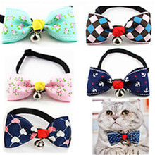 High Quality Fashion Adjustable Pet Dog Cat Collar Cute Bow Tie Necktie Bells for Dogs Pet Products Pet Grooming EJ871879(China)