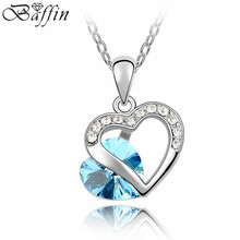 BAF Crystal Double heart necklace Rhodium Plated Necklaces of Crystal From Swarovski Pendants Necklace for women's gift