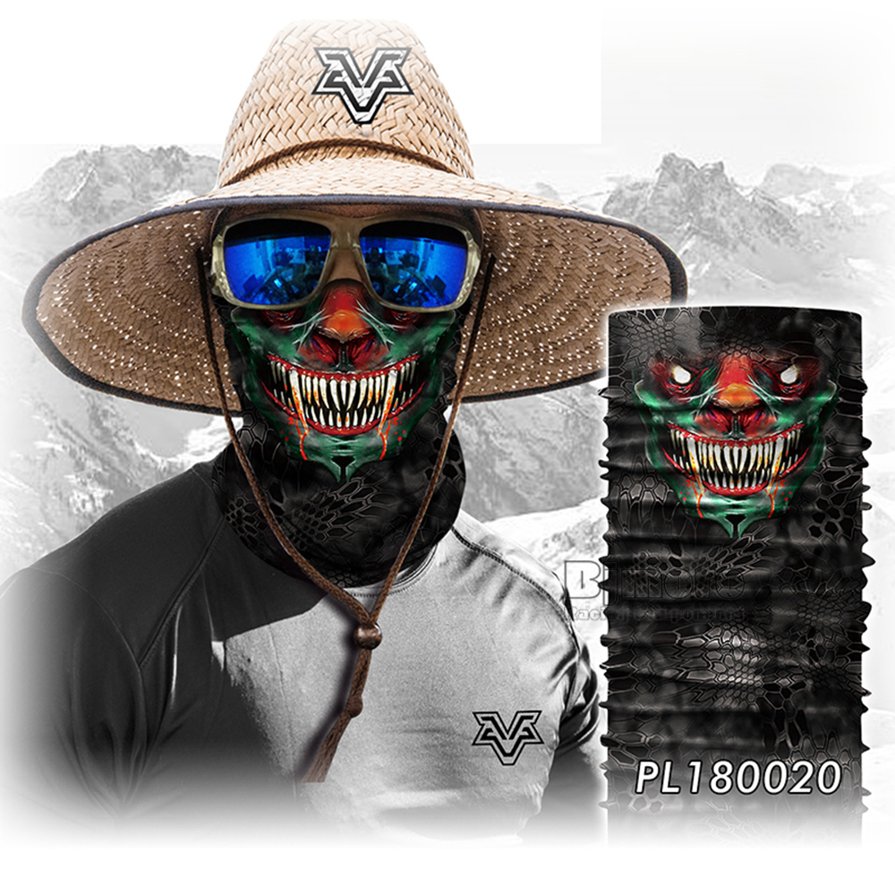 Magic Seamless Scarf Skull Ski Cycling Headwears Headband Motorcycle Neck Bandana 3D Vampire Human Face Bandana Scarf (7)