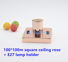 Roae gold square ceiling rose E27 screw lamp holder for bar clothing store lamp wall lamp Lighting accessories DIY
