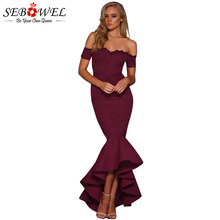 SEBOWEL Sexy Burgundy Off Shoulder Party Dress Elegant Formal Lace Maxi Dress  Women Long Bodycon Lace Trim Mermaid Evening Gown e5b13b4e18f7