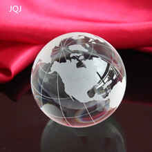 JQJ Crystal Glass Globe World Map 60 mm Office Desk Ornaments Feng shui World Golbe Teach Education Geography Toy Map Ball(China)