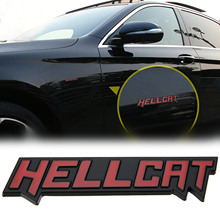 New Metal HELLCAT Emblem Sticker Car Side Body Trunk Badge Decal For Dodge Demon Charger Challenger Hell Cat Black 13 x 2CM(China)