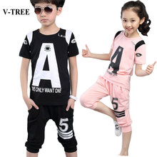 V-TREE Summer Children Clothing Sets Teenager Brand Sport Suit Casual Kids Clothes Set Fashion Boys Girls Tracksuit
