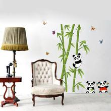 Home Decor Mural Vinyl Wall Sticker Removable Cute Panda Eating Bamboo Nursery wall stickers Panda Bamboo Removable wallpaper