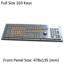 103 keys full size stainless keyboard with mechanical trackball and numeric keypad, metallic kiosk keyboard(China)