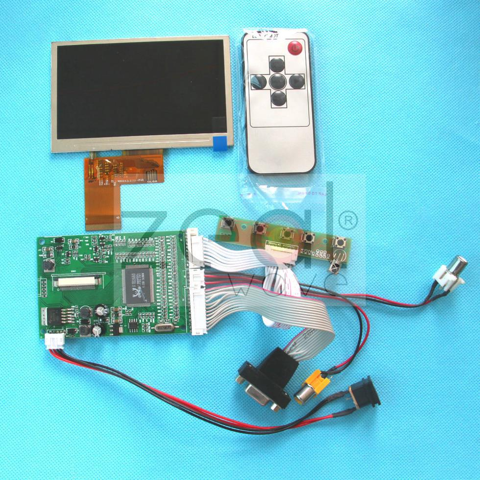 4 3 Color TFT LCD Module 480*272 Display w/ VGA,AV Video Driving Board,without touch acreen<br>