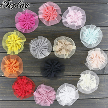 "Toplay 80pcs/lot 3"" Handmade Silk Lace Flower Boutique Hair Flowers Girls Flower Decoration Shoes/Clothing/Garment Accessories(China)"