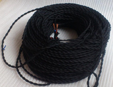 black color 2 core 0.75mm2 Textile Electrical Wire colorful textile cord braided bare copper braided wire braided copper wire