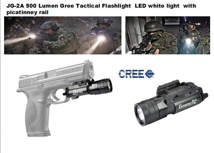 JG-2A 420 Lumen Gree Q5 Tactical Flashlight Led White Light With Picatinney Rail For Pistol/Gun Handgun Glock 17 19 20 23 31 37<br>