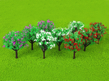 "30pcs 3.15"" 1:100 Scenery Landscape Scene Scenery Train Model Trees w/ Mixed Color Flowers Scale 1/100 Layout Garden Model Trees(China)"