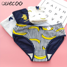 Buy QUECOO 2018 Selling new banana printing cute sexy underwear cotton comfortable underwear women #168