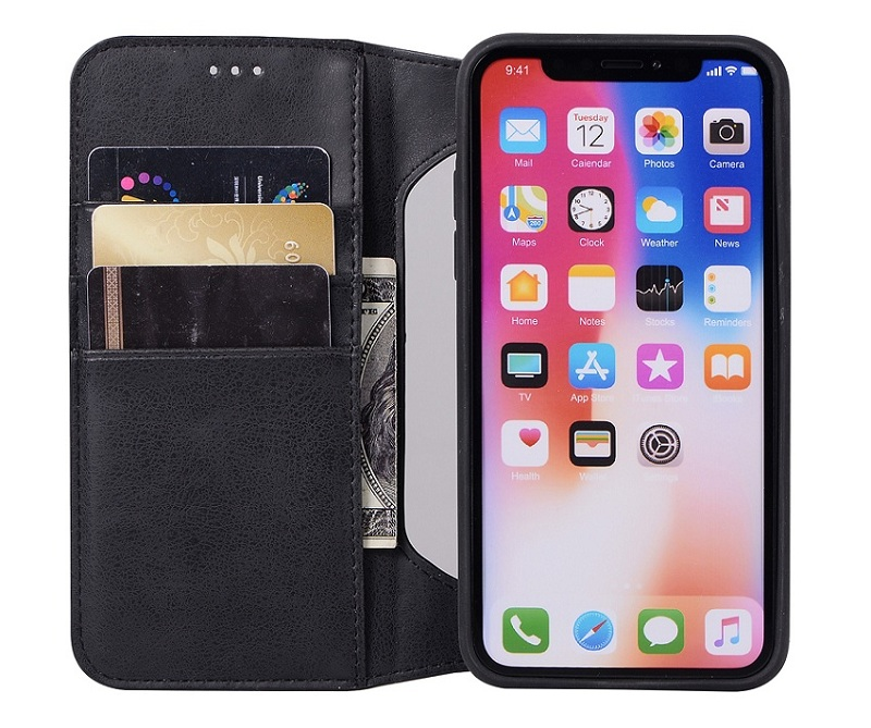 Black genuine leather flip case for iPhone x luxury card ultra thin cover