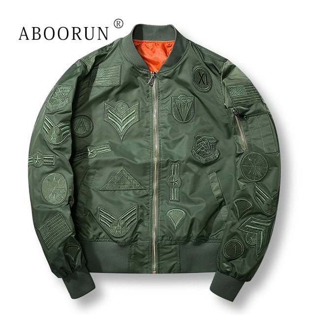 Dropshipping Suppliers Usa ABOORUN New Mens Bomber Jacket Air Force Pilot Jacket Windbreaker Army Green Black W4043