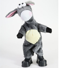 Dropshipping 39cm 2017 New Arrival Lovely Dancing Singing Toy Donkey Plush Toy Sound Shaking head Donkey Gift for Children