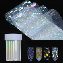 holographic Starry Stickers Nail Foil 4*100cm Holo Glitter Transfer Sticker 8 Patterns Manicure Nail Art Decoration(China)