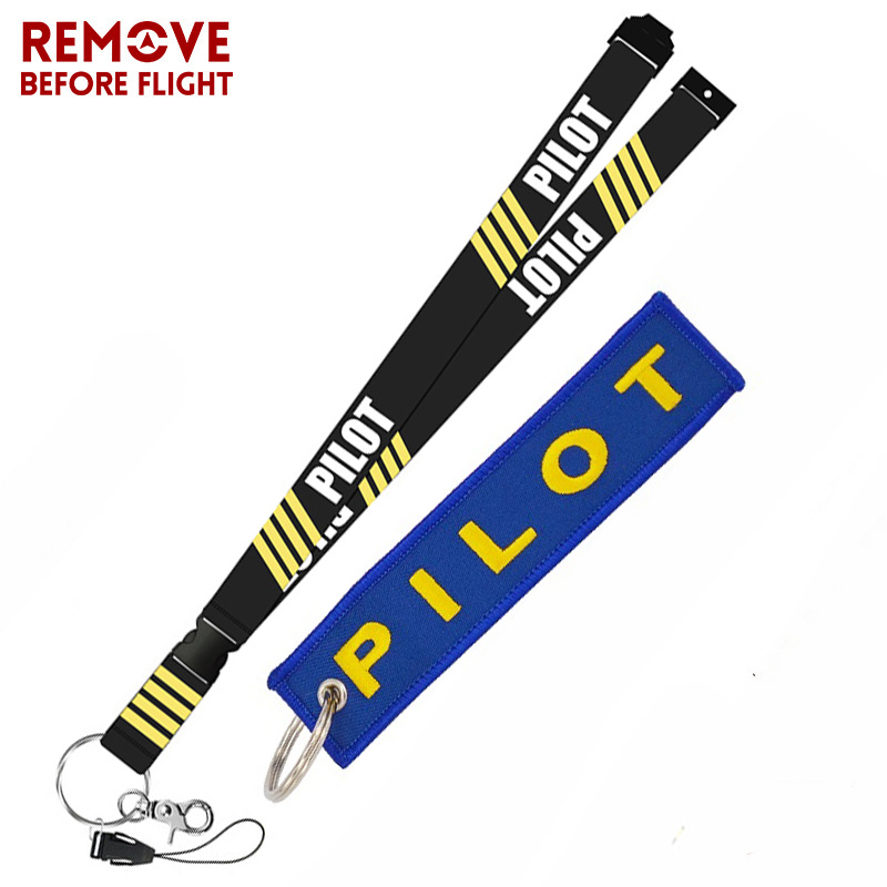 Remove Before Flight Fashion Jewelry Mixed Key Chain Safety Tag Embroidery Pilot Lanyard  for Key Ring Chain Aviation Gifts (1)