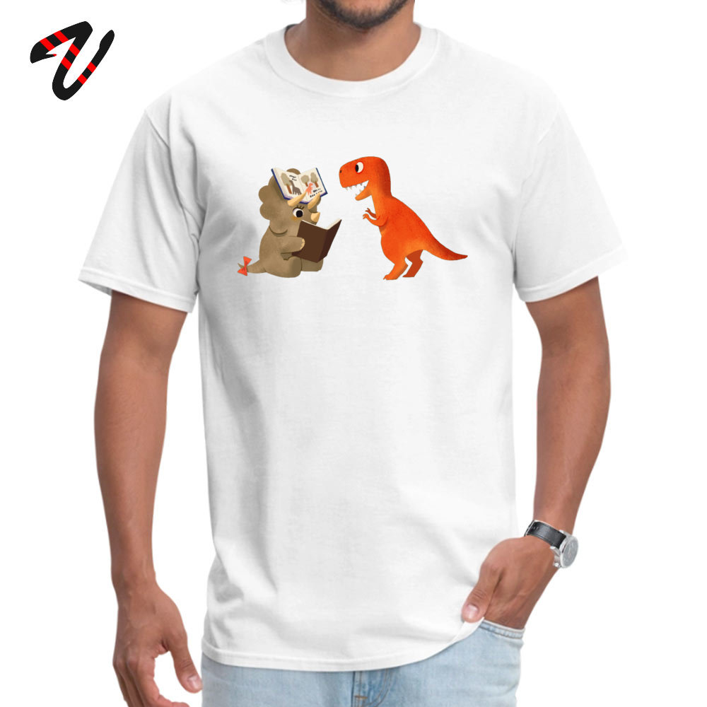 BOOK DINOSAURS T Shirt for Men Casual Summer Tops Shirt Short Sleeve Coupons Simple Style Tee Shirts Round Neck 100% Cotton BOOK DINOSAURS 04 -17446 white