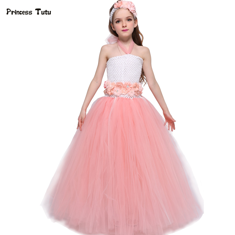 Peach Flower Girl Tutu Dress Tulle Elegant Birthday Party Girl Dress Summer Kids Clothes Princess Wedding Flower Girl Dresses  <br>