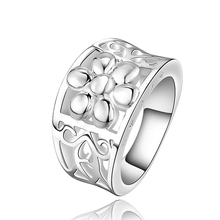 R472 2017 new 925 sterling silver rings with thick smooth rings with flower design rings for women men's fashion jewelry