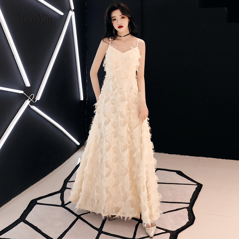 weiyin Champagne Evening Dresses Elegant Lace Long V-neck Sexy 2019 Special Occasion Dresses Evening Party Gowns WY1092