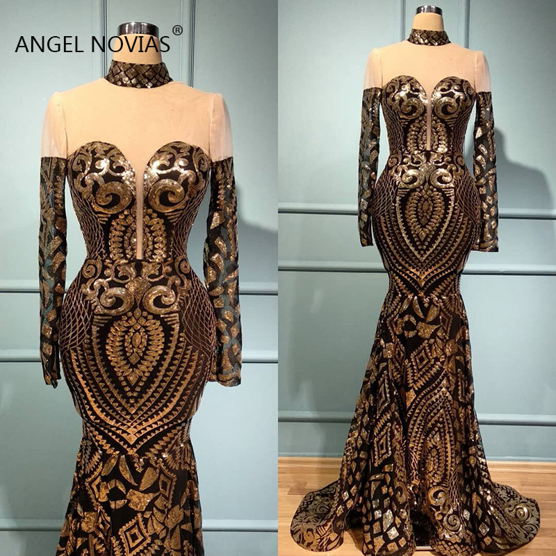 Long Sleeves Mermaid High Neck Black and Gold Lace Glitters Arabic Abendkleider Evening Dress 2019 Prom Gowns(China)