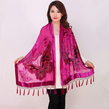Hot Sale Women Velvet Silk Beaded Shawls Vintage Handmade Embroidery Scarves Scarf Long Fringe Pashmina Butterfly Cape Stole