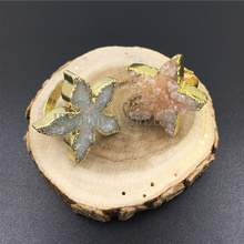 MY0999 Natural Starfish Shape Agates Druzy Stone Pendant Charm,Star Pendant with Gold Color Edge for women