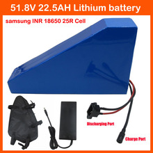 51.8V 22.5AH Lithium battery triangle shape 2500W 52V 22.5AH 14S Electric Bike battery use samsung INR18650 25R Cell