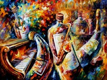 beautiful Painting Home Decor bottle jazz Colorful oil paintings Canvas Modern Fine Art High quality Hand painted