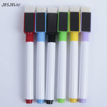 6PCS/Set Magnetic Whiteboard Pen Erasable Dry White Board Markers Magnet Built In Eraser Office School Supplies(China)