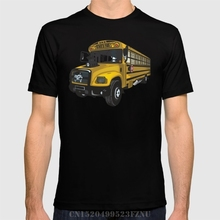 Spring Limited men t shirt School bus short O neck Fashion Cotton tees homme Clothing(China)