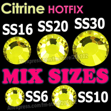 Mix Sizes Citrine Yellow HotFix Rhinestones SS6 SS10 SS16 SS20 SS30 Flat Back Hot Fix DIY glitters crystals stones for women DIY(China)