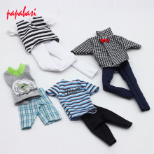 4 Sets Casual Suits Doll Clothes Plaid Shirt T-shirt +Pants Prince Fashion Wear Outfits For Barbie Ken Doll Best Gift