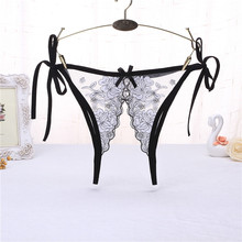 Buy Open Crotch Sexy Panties Women Embroidery Lace Transparent Erotic Lingerie Sexy Underwear Female Crotchless Panties Briefs
