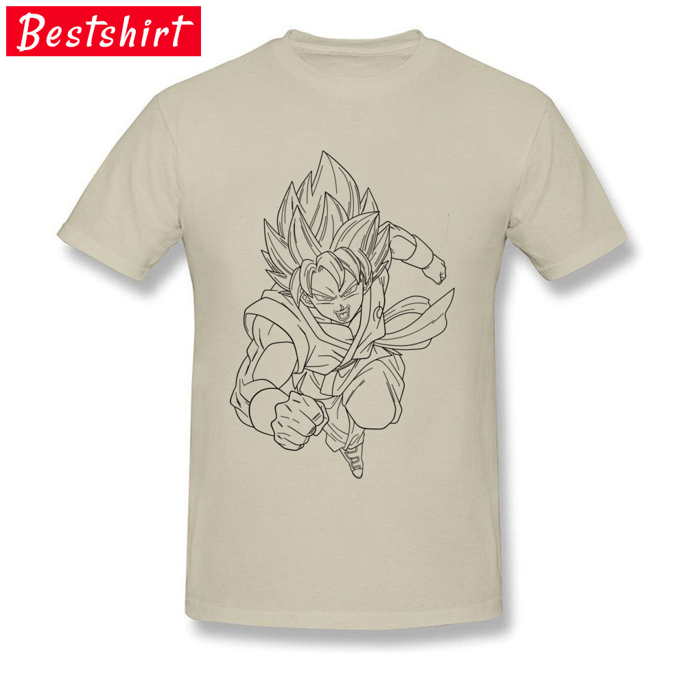 Printed On Short Sleeve Tops & Tees Thanksgiving Day New Coming Round Neck Pure Cotton T-Shirt Men T Shirt goku super saiyan  goku super saiyan  beige