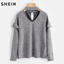 SHEIN Women Choker Neck Ruffle Sleeve Slit Side Marled Tee Autumn Ladies Long Sleeve T shirts Grey V Neck Basic Tee(China)