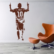 New arrival Free shipping Home Interior Removable Decor Wall Stickers Soccer Star Messi Wall Decor living room decoration(China)