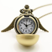 Harry Potter Lady Golden Wing Pendant Golden Little Snitch Antique Pocket Watch Necklace Girl Women Gift Quartz Watch Chain