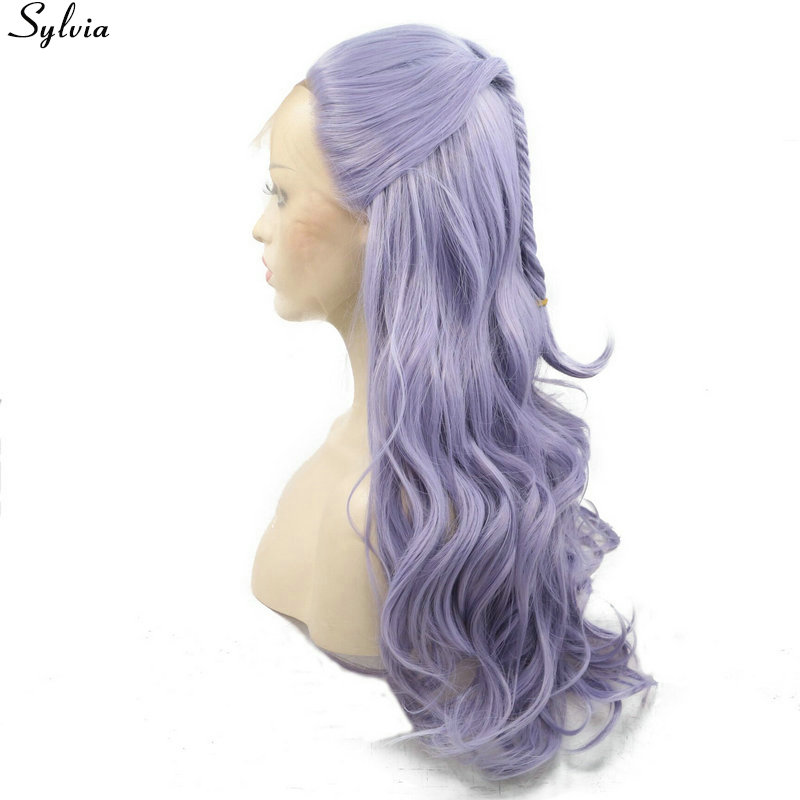 Pastel Lilac Purple Lavender Lace Front Wig Synthetic with Fishtail Braids Natural Long Wavy Wigs Glueless Heat Resistant Sylvia (3)